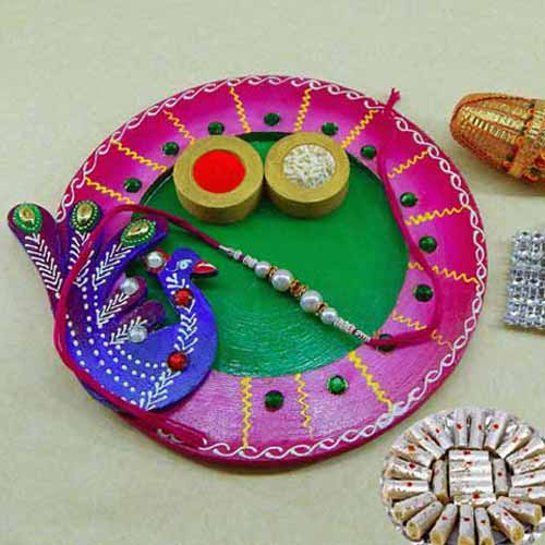 Exclusive wooden Puja thali with Kaju Rolls 200grm - AUS Only