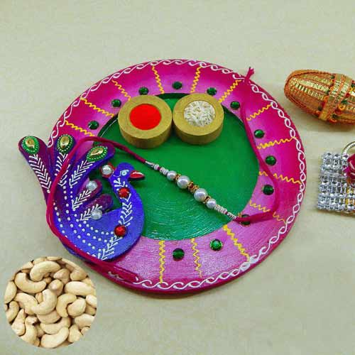 Exclusive wooden Puja thali with Cashews 200 grm. AUS Only