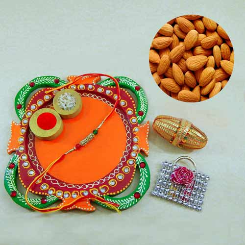 Multi Colored Rakhi Thali with Almonds 200 grm.