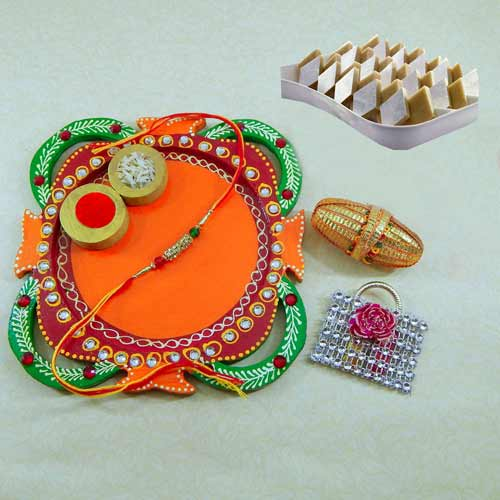 Multi Colored Rakhi Thali with Kaju Barfi 200grm. - USA Delivery