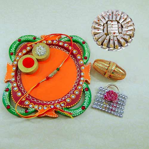 Multi Colored Rakhi Thali with Kaju Rolls 200grm. - CANADA Only