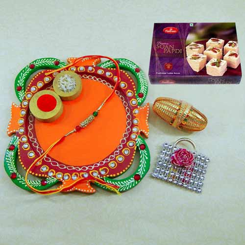 Multi Colored Rakhi Thali with Soan Papdi 250 grm.