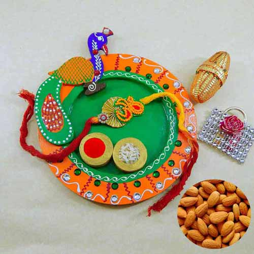 Sumptuous Wooden Pooja Thali with Almonds - USA Delivery