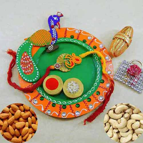 Peacock Wooden Puja Thali with Almond & Cashews - USA Delivery
