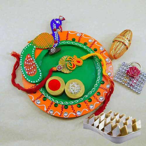 Peacock Wooden Puja Thali with Kaju Barfi 200 grm - UK Delivery