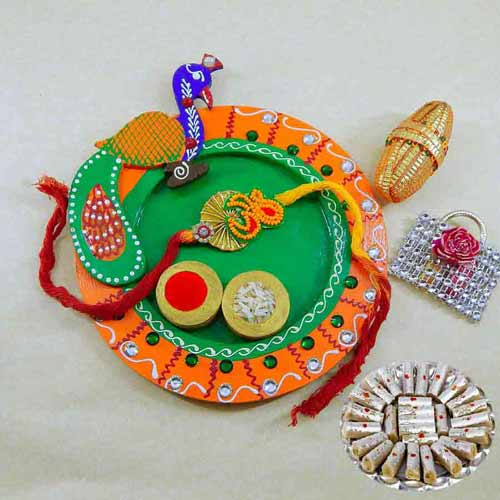 Peacock Wooden Puja Thali with Kaju Rolls 200 grm - CANADA Only
