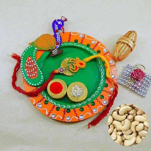Peacock Wooden Puja Thali with Cashews 200 grm - USA Delivery