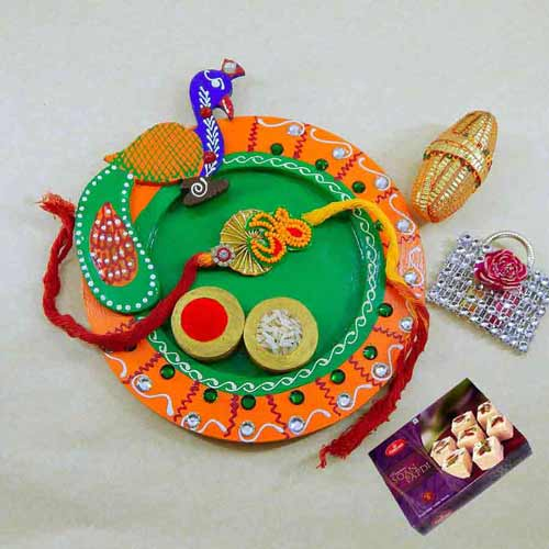 Peacock Wooden Puja Thali with Soan Papdi 250 grm - AUS Only