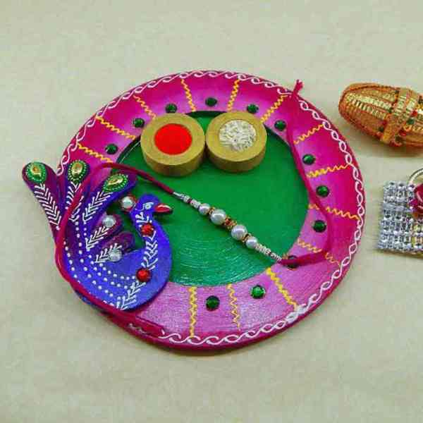 Exclusive wooden Puja thali - Canada Delivery Only