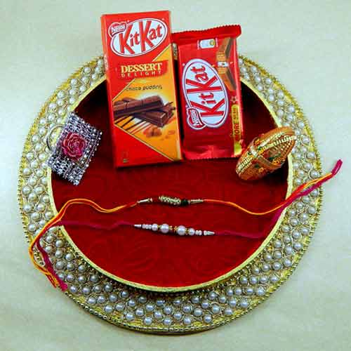 Classy And Attractive Rakhi Thali - UK Delivery Only