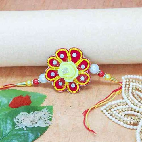 Floral Beads Rakhi - USA Delivery Only