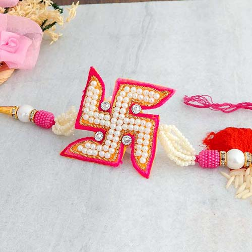 Swastik Pearl Rakhi - UK Delivery Only