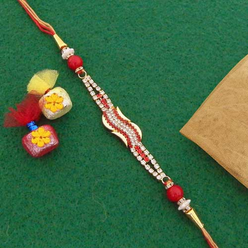 Beauteous AD Stones Rakhi - USA Delivery Only