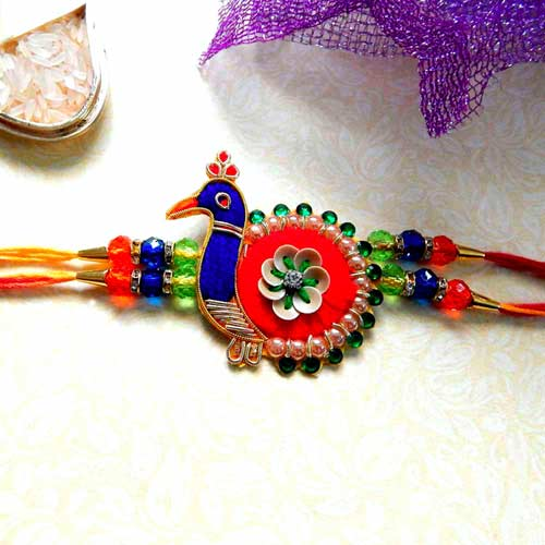 Splendid Peacock Rakhi - USA Delivery Only
