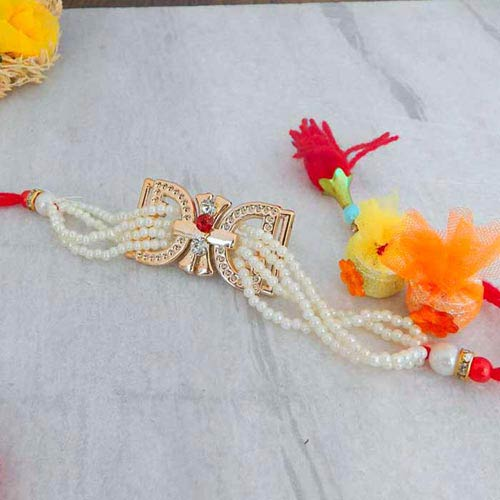Alluring Pearl Rakhi - UK Delivery Only
