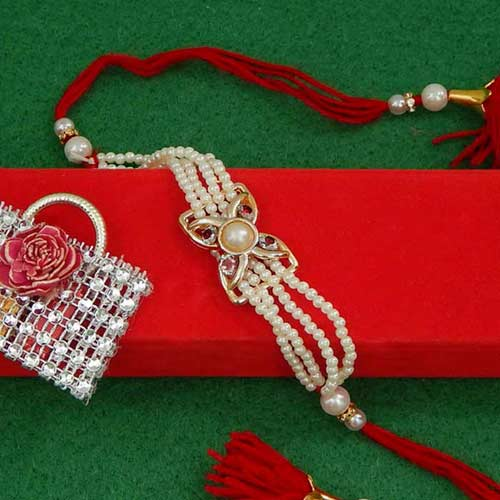 Treasurable Pearl Rakhi - USA Delivery Only
