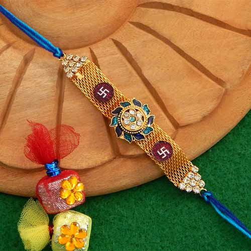 Splendid Floral Swastik Rakhi - USA Delivery Only