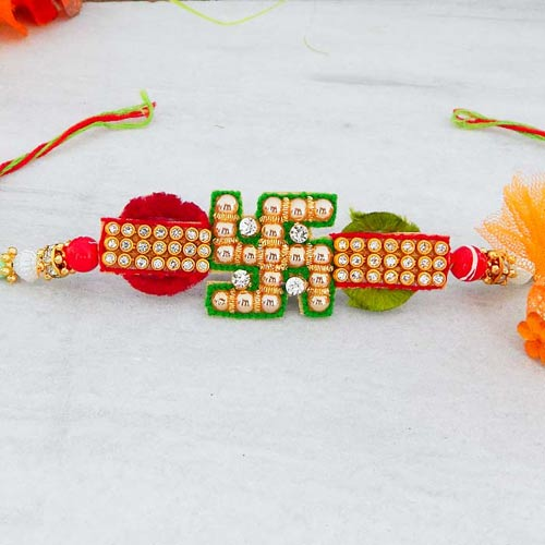 Perfect Swastik Rakhi - USA Delivery Only