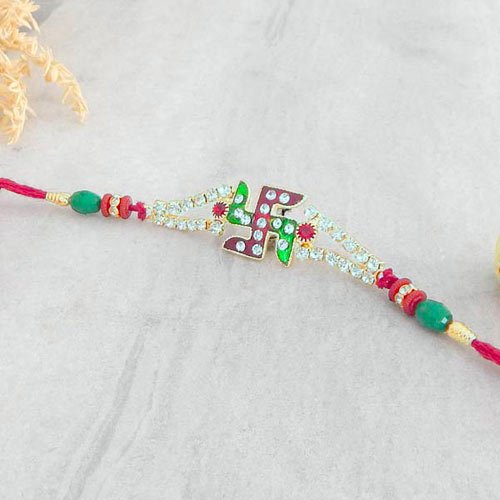 Exquisite Swastika Rakhi - USA Delivery Only