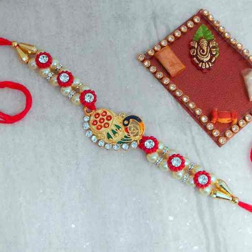 Concatenated Peacock Rakhi - Canada Delivery Only