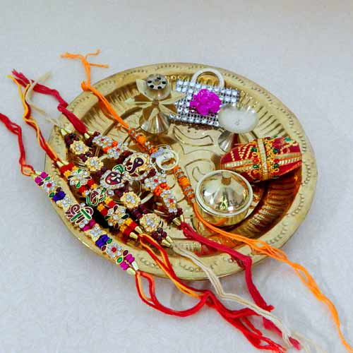 Rakhi Set of 5 Rakhis with Brass Puja Thali - 23 - USA Only