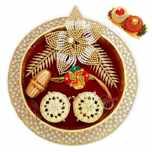 Round Plastic Fancy Pooja Thali - 07 - CANADA Delivery Only