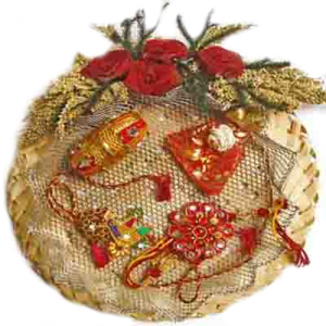 Cane Rakhi Puja Thali Hamper 8 - India To Canada Delivery