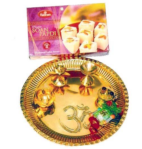 Brass Puja Thali with SoanPapdi 500 gms - Australia Delivery