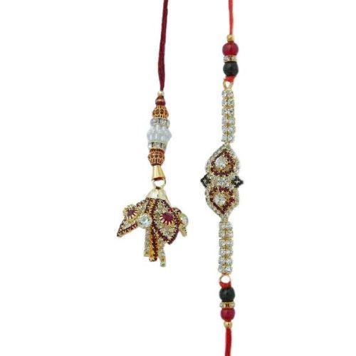 Shimmering Diamonds Rakhi Lumba Set