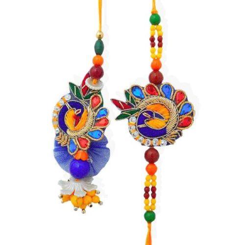 Charming Peacock Rakhi Lumba Set