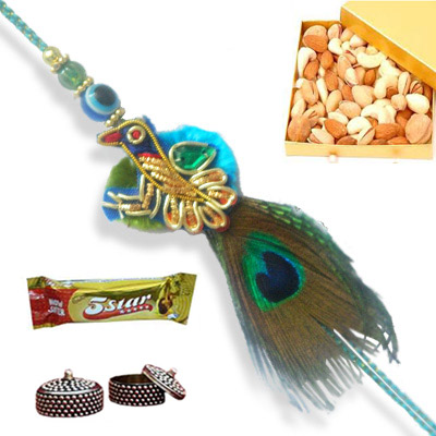 Zardosi Peacock Rakhi - 12 - UK Delivery Only