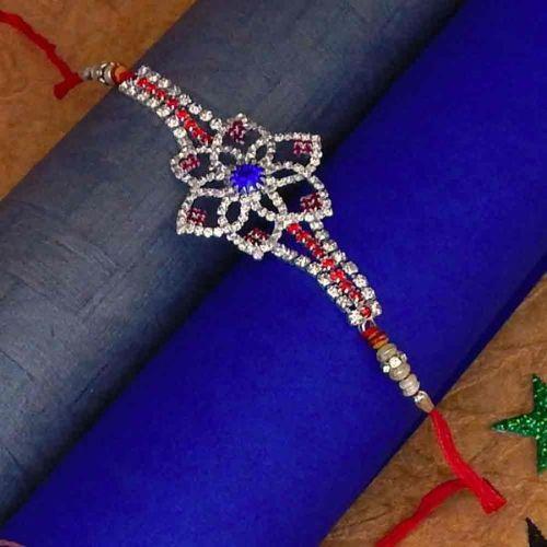 Diamond Stone Flower Shape Stone Work Rakhi