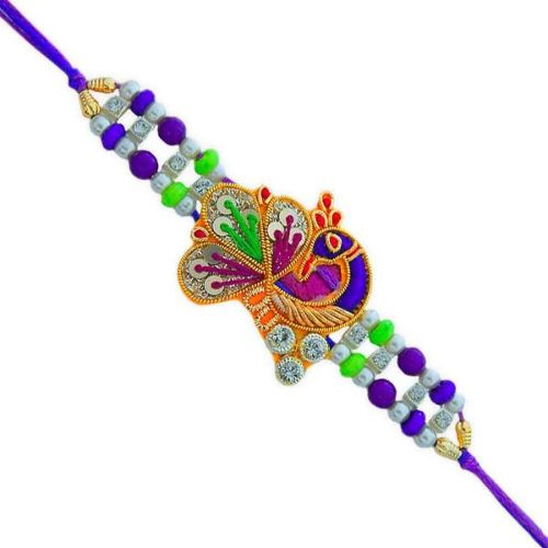 Zardosi Peacock Rakhi - USA Delivery Only
