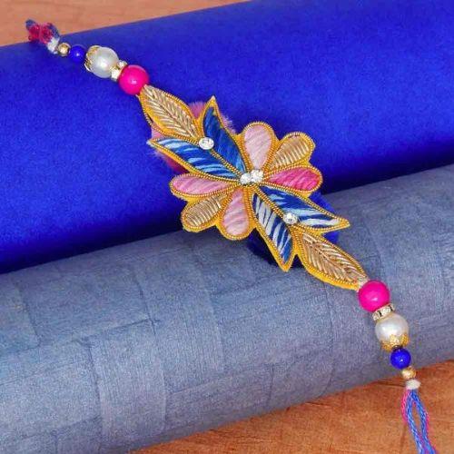 Exclusive Colour Combination Zardosi Work Rakhi