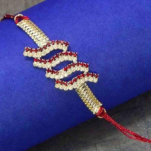 Artificial White Metal & Diamond Rakhi