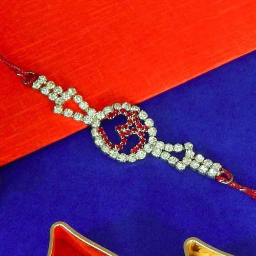 "Dial Shape ""OM"" Diamond Rakhi"
