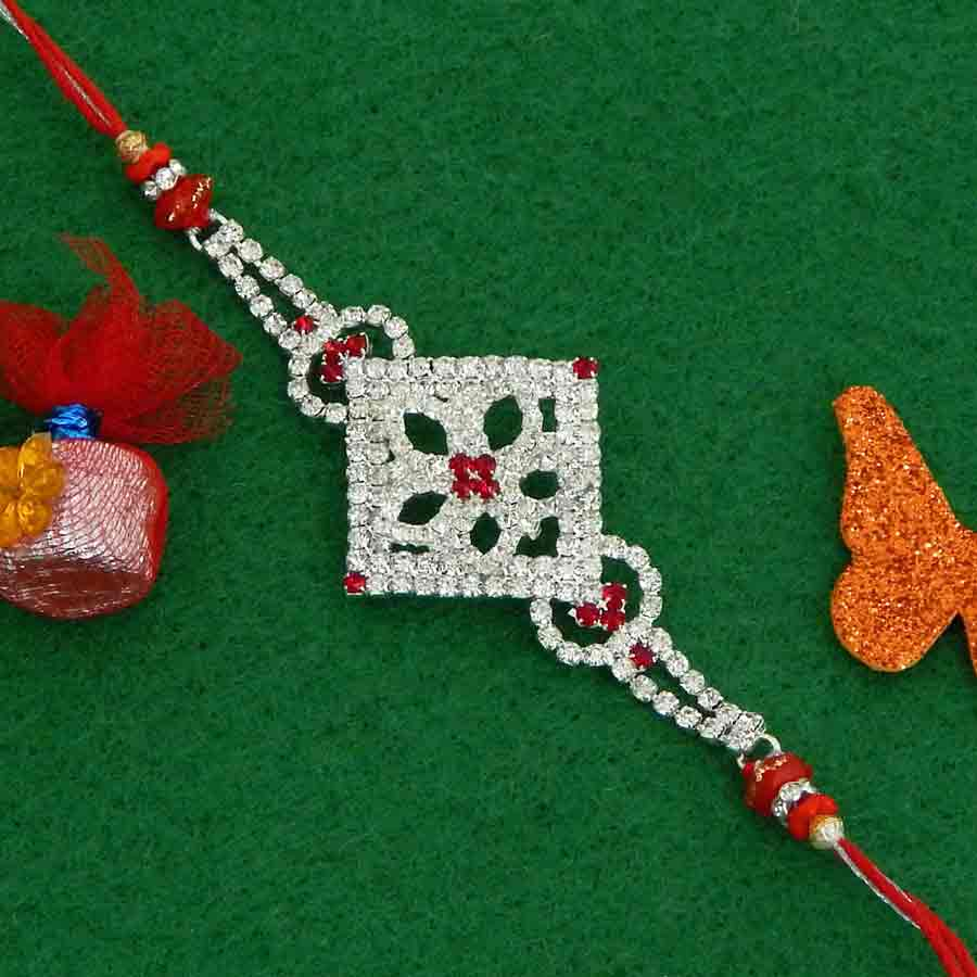 Exquisite Diamond Studded Rakhi
