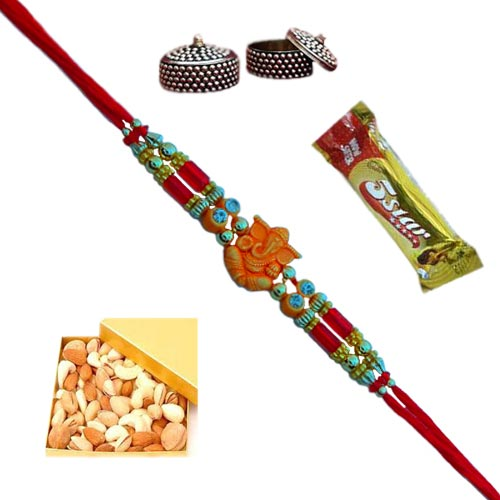An Auspicious Lord Ganesh Rakhi - With Dry Fruits-USA Delivery