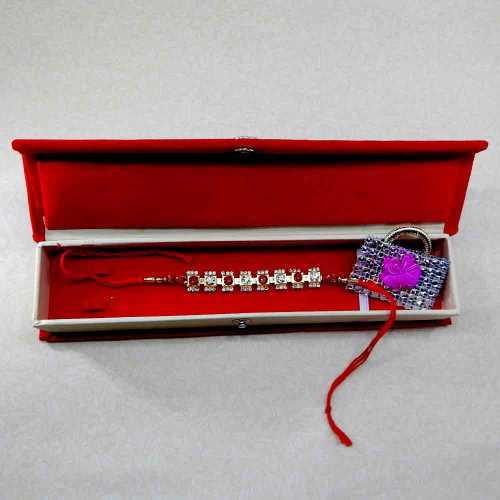 Pretty Crystal Rakhi With Rakhi Gift Box
