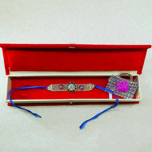 Splendid Floral Swastik Rakhi With Gift Box