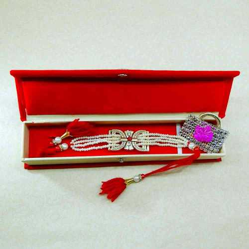 Alluring Pearl Rakhi With Rakhi Gift Box