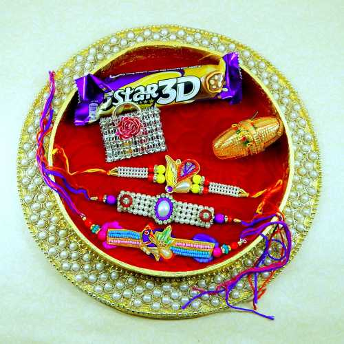 Embedded With Motifs Rakhi Puja Thali - Canada Delivery Only