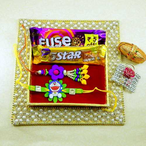 Square Modish & Attractive Rakhi Thali - Australia Only