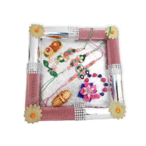 Square Fancy Rakhi Tray - 19