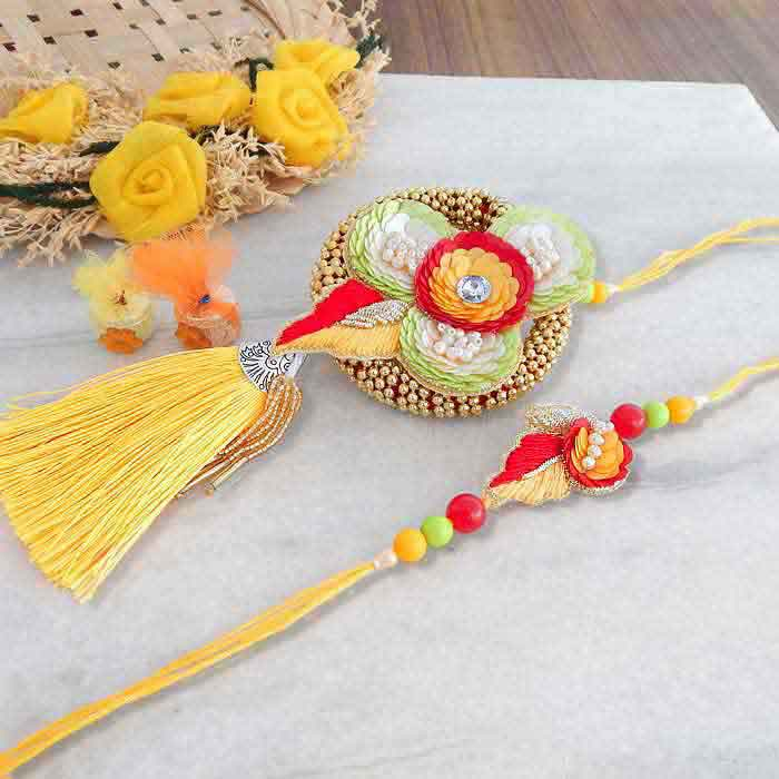 Motifs Seasoned Rakhi Lumba Set - Canada Delivery Only