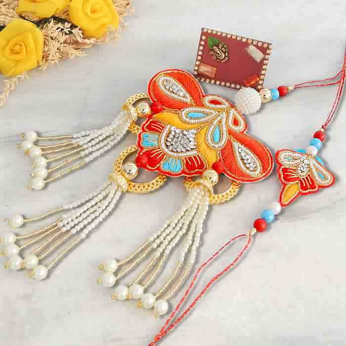 Designer Rakhi Lumba Set - UK Delivery Only