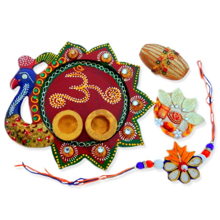 Peacock Om Puja Thali - USA Delivery Only