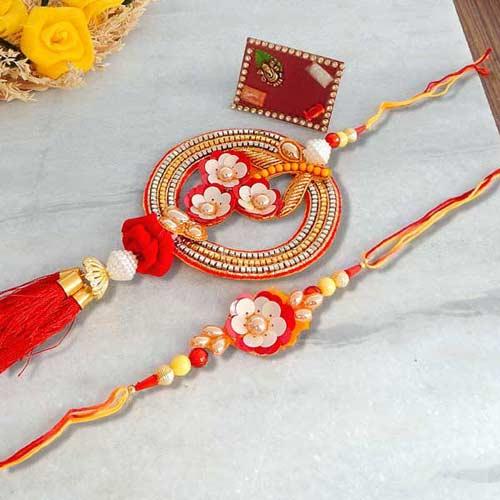 Meenakari Floral Rakhi Lumba Set - USA Delivery Only