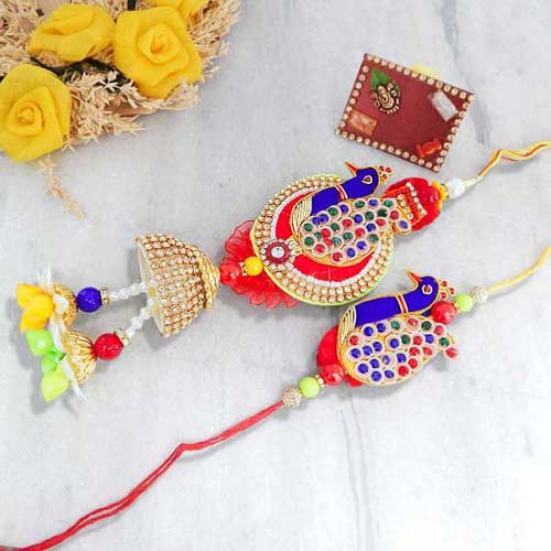 Peacock Rakhi Lumba Set - UK Delivery Only