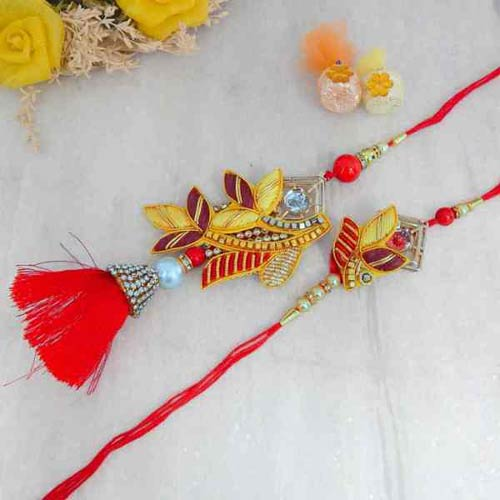 Designer looking Bhaiya Bhabhi Rakhi Set - UK Delivery Only